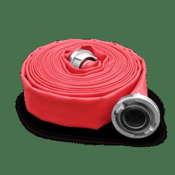 Bauschlauch mit roter Polyurethanbeschichtung aufgerollt.